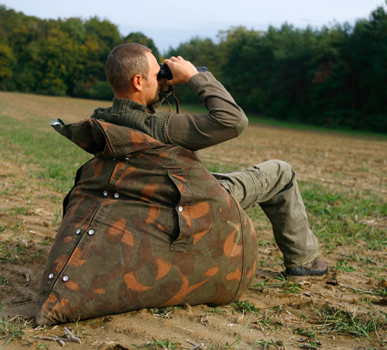 Beanbag made of recycled army tent