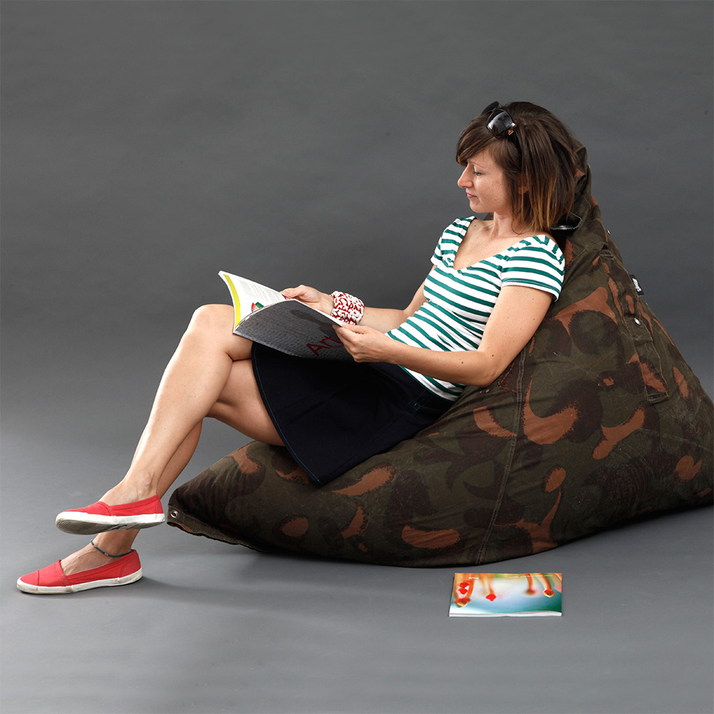 bravo beanbag made of recycled army tent